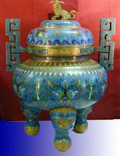 China Cloisonne Pot : Lion Incense burner