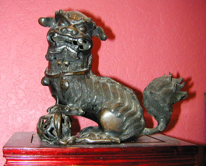 China Bronze Animal : Lion Incense burner