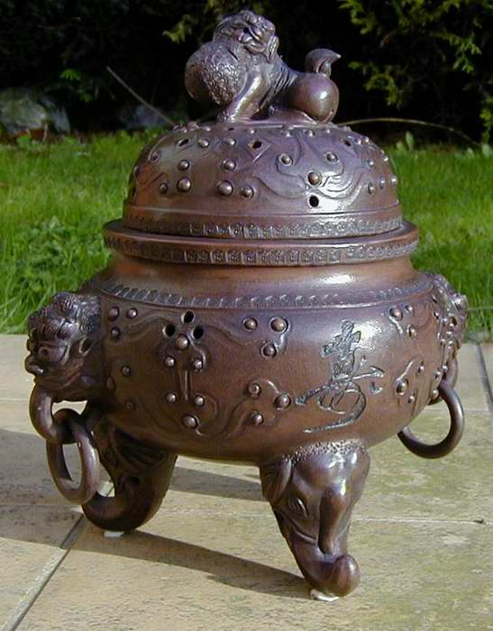 China Ceramic Pot : Lion Incense burner