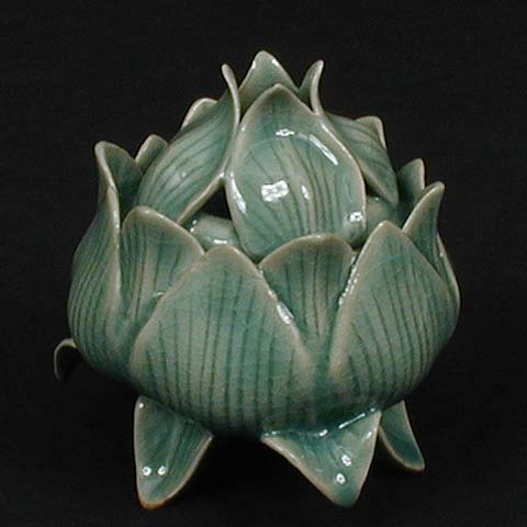 Korea Ceramic Vegetal : Lotus Incense burner
