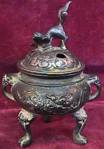 China Bronze Pot : Dog Incense burner