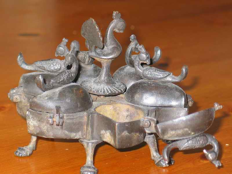 India Brass Multi-Part : Peacock Incense burner