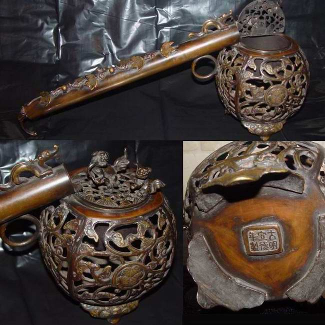 Asia Brass Pipe Incense burner
