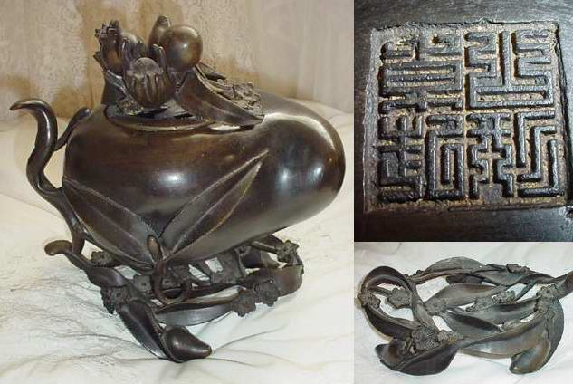 China Bronze Vegetal : Peach/Eggplant Incense burner