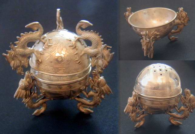 China Silver Sphere : Dragon Incense burner