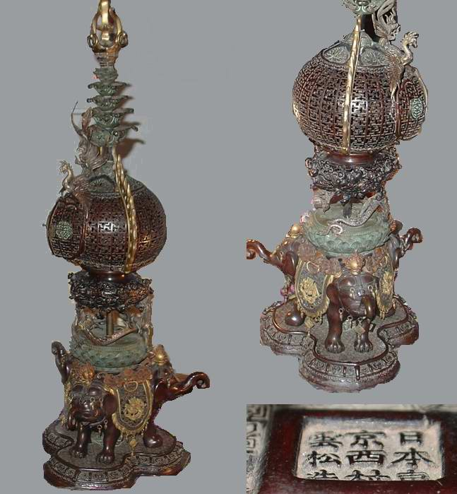 Japan Bronze Column : Elephant Incense burner