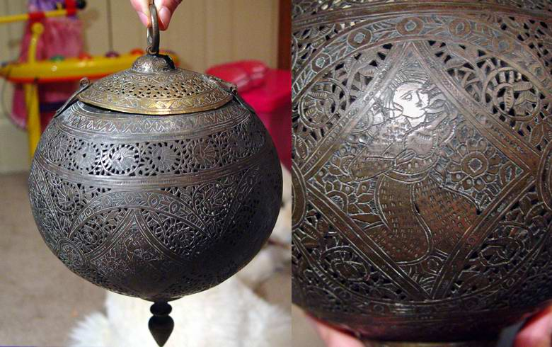 Oriental Metal Sphere Incense burner