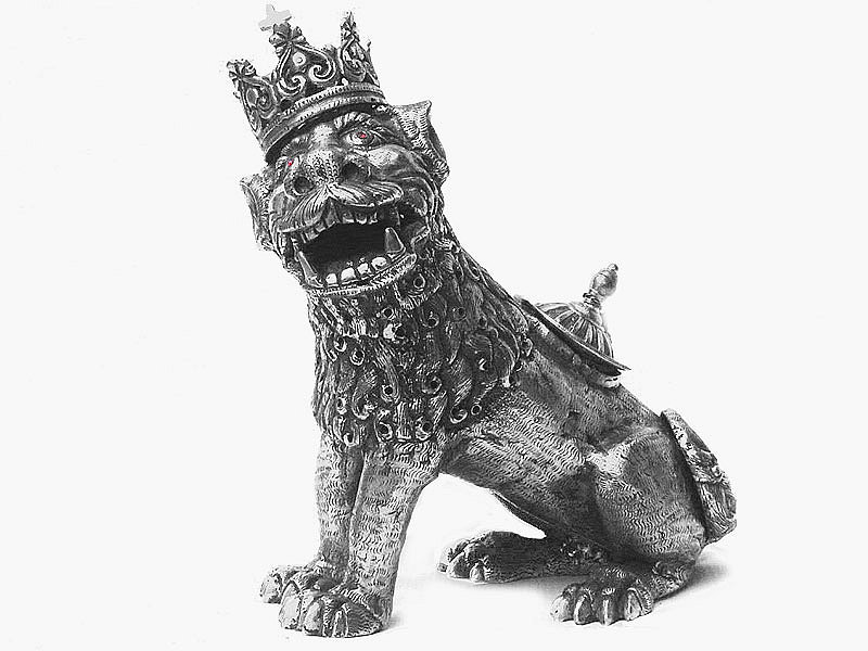 USA Silver Animal : Lion Incense burner