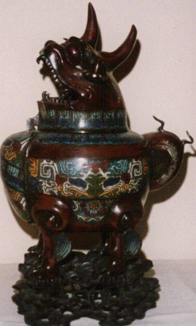 China Bronze Pot : Foo Dog/Komainu Incense burner
