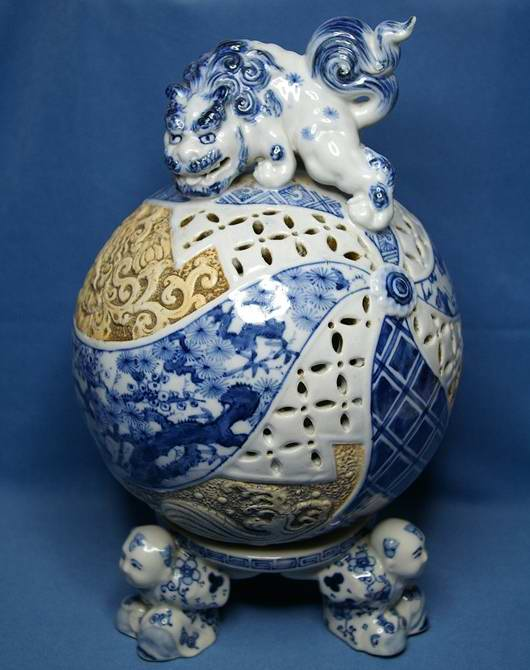 Japan Ceramic Egg : Lion Incense burner