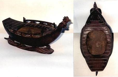 Japan Bronze Boat : Chicken Incense burner