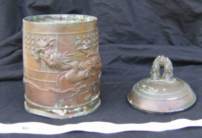 Vietnam Copper Box : Dragon Incense burner