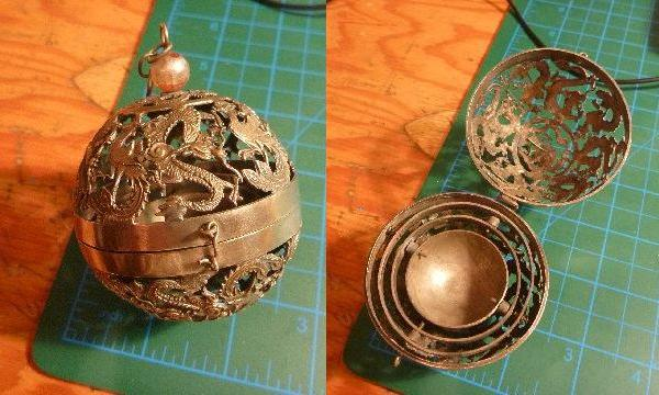 China Brass Sphere : Dragon Incense burner